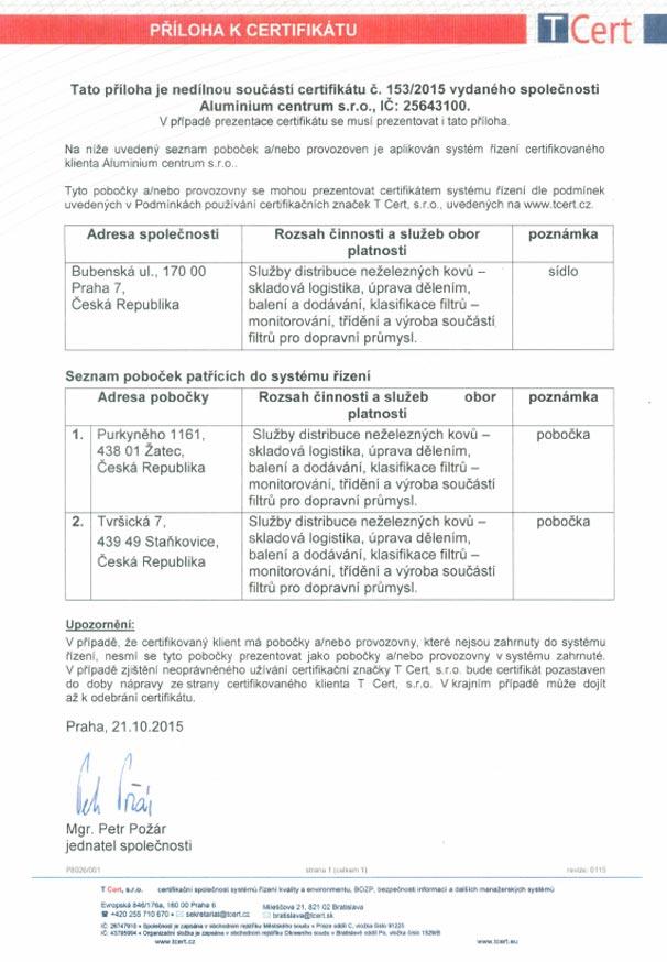 Certifikát Aluminium centrum